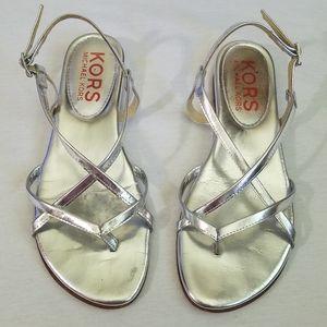 KORS Michael Kors silver metallic sandals 7